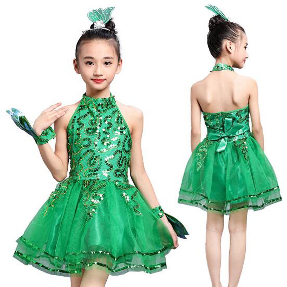 New Veil Girl Latin Dancewear Kids Latin Dresses Students Green Latin Tutus Sequined Stage Dancing Costumes with Gift Flowers