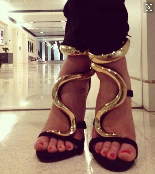 Hot Selling Summer Women High Heel Gold Ankle Metallic