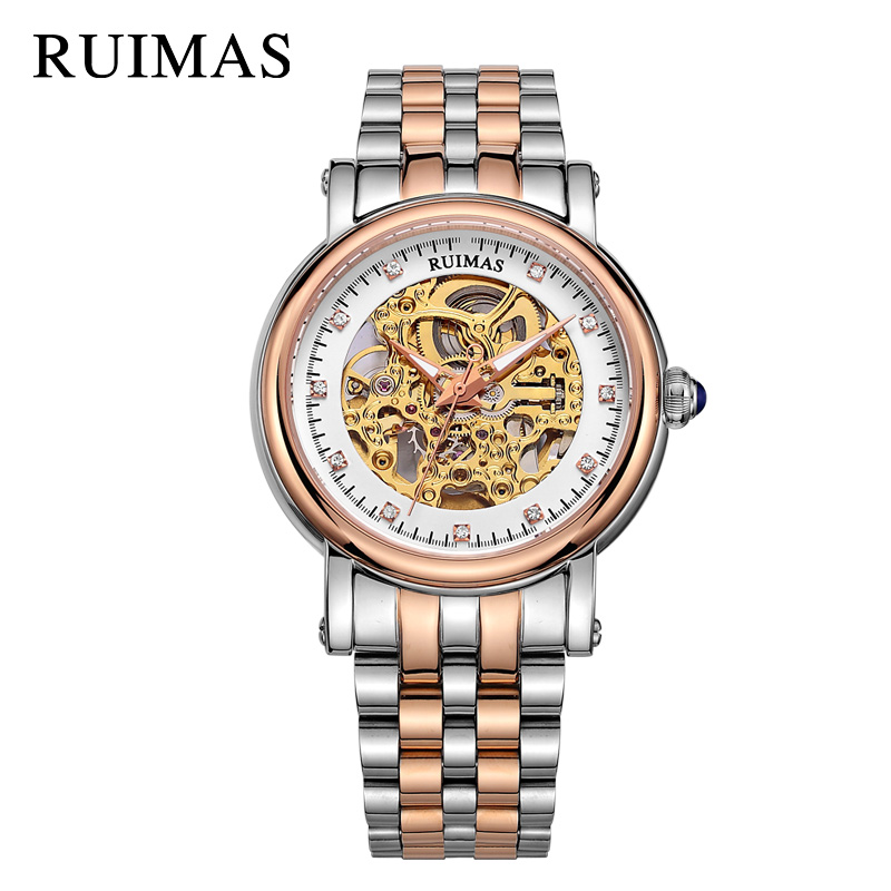RUIMAS Automatic Mechanical Watch Top Brand Luxury Business Men Wrist Watches Relogio Masculino Army Military Watches for Male ruimas top brand luxury men quartz watch fashion stainless steel business wrist watch relogio masculino military watches for men