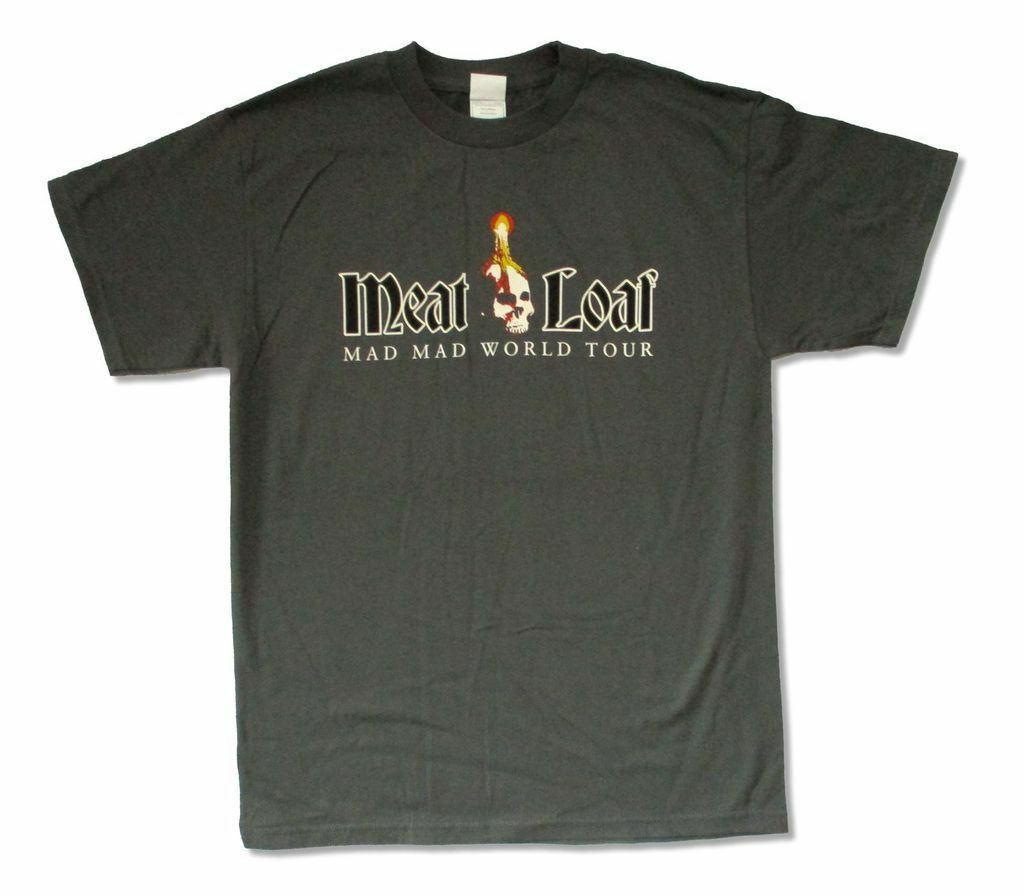 Meat Loaf Mad Mad World (PL- PC) Charcoal Grey T Shirt New Official Adult image