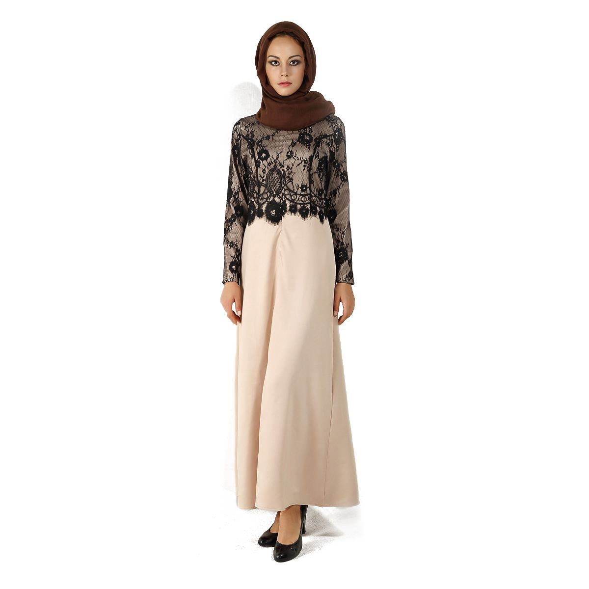 Womens New Spring Autumn Noble Muslim Dress Lace Kaftan Abaya Ladies Long Sleeve Elegant Islamic Maxi Dress