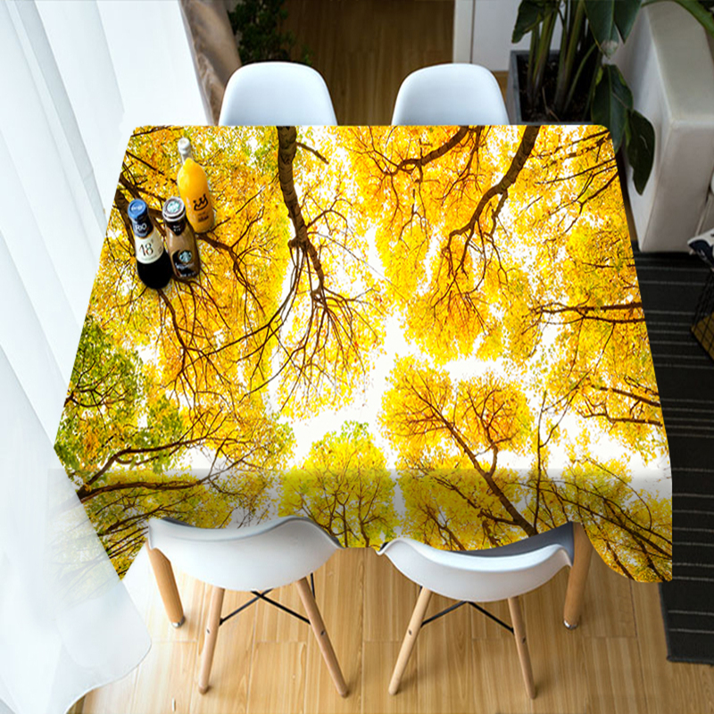 Customizable 3D Round Tablecloth Maple Forest Landscape Pattern Washable Polyester Cotton Rectangular Table Cloth Home textile in Tablecloths from Home Garden