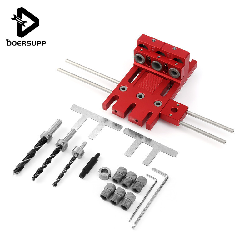 Doersupp 3in1 DIY Woodworking Drill Guide Locator Doweling Jig Joinery System Drill Bit Aluminium Alloy Carpentary Tool 5 in 1 mini pocket hole drill dowel jig guide woodworking drilling locator 6 8 10mm