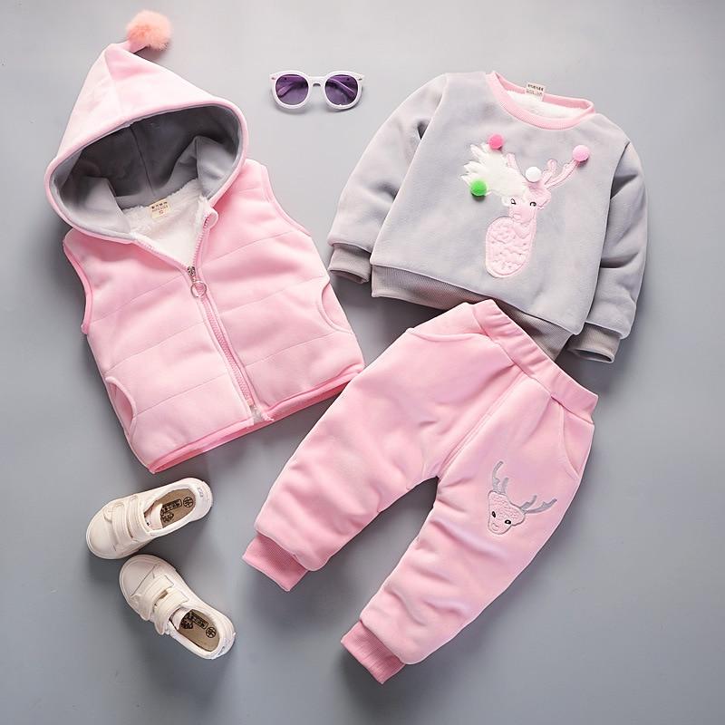 c139e8fc9 € 29.8 30% de DESCUENTO|2018 de invierno gruesa Cachemira niños conjuntos  de ropa para mantener caliente de algodón de moda Niño Niña de ...