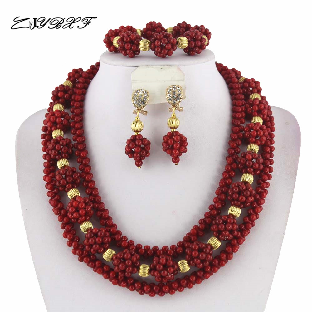 Red African Coral Beads Jewelry Sets Nigerian Wedding
