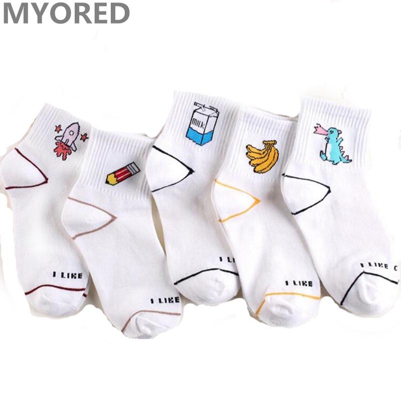 Myored women cartoon socks cotton colorful summer animal banana fruit milk short tube sock 5 pairs