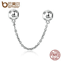 BAMOER 925 Sterling Silver STAR SILVER SAFETY CHAIN Charms Fit Women DIY Bracelets Accessories PAS349