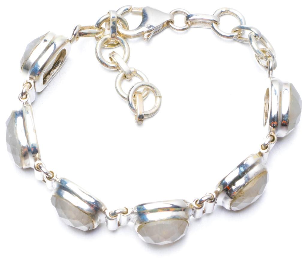 Natural Rainbow Moonstone Handmade Unique 925 Sterling Silver Bracelet 5 3/4-7 Y0814 natural rainbow moonstone and garnet handmade unique 925 sterling silver earrings 1 5 x3678