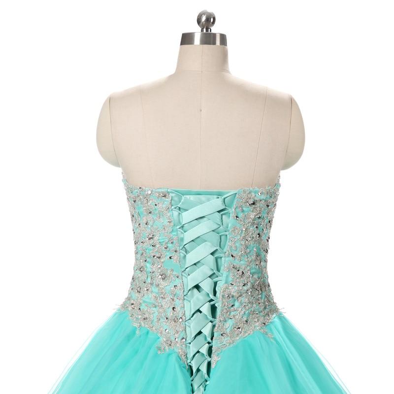 2017 echte foto tulle baljurk quinceanera jurk met applique en kralen - Jurken voor bijzondere gelegenheden - Foto 5