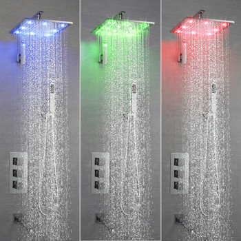 цена на SKOWLL Shower Systems Wall Mounted Shower Combo Set with LED Light Square Rain Shower Head and Handheld Shower Faucet Set
