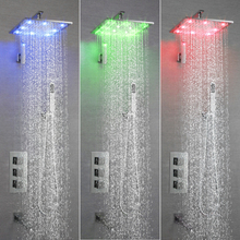 SKOWLL Wall Mounted Bathroom LED Thermostatic Shower Faucet Rainfall Waterfall Square Shower Head SK-7621 цена 2017
