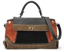 Crocodile Pattern Women Vintage Shoulder Bag Patchwork Decoration Designer Handbags High Quality