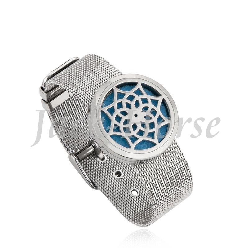 New arrival Essential Oil Diffuser Perfume locket bracelet 30mm Aromatherapy stainless steel Mesh Belt Buckle Bracelet Bangle