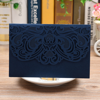 100 PCS Laser Cut Wedding cards Lace Flower Pattern Invitations vintage postcards for Birthday Wedding party Announcement