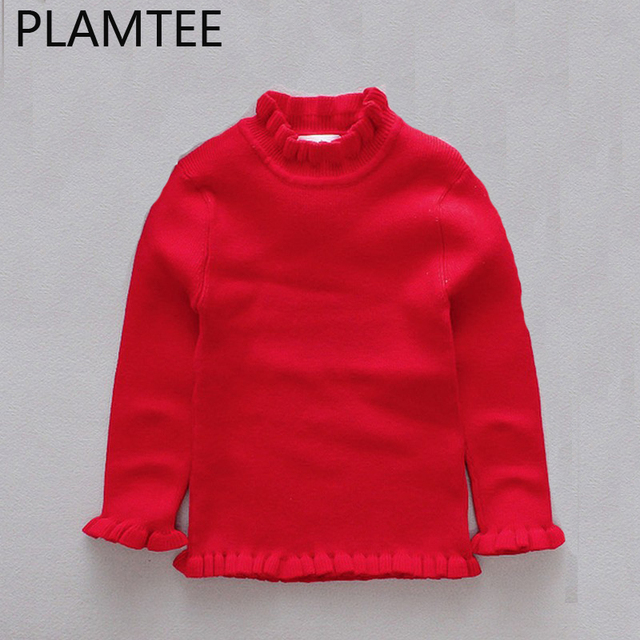 Plamtee Turtleneck For Girls Lace Long Sleeves Kids Sweaters Winter