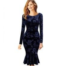Женское зимнее элегантное винтажное цельнокроеное платье в стиле ретро с цветочным рисунком, костюм, Повседневные Вечерние, деловые, рабочие, облегающие, платье русалки, костюм