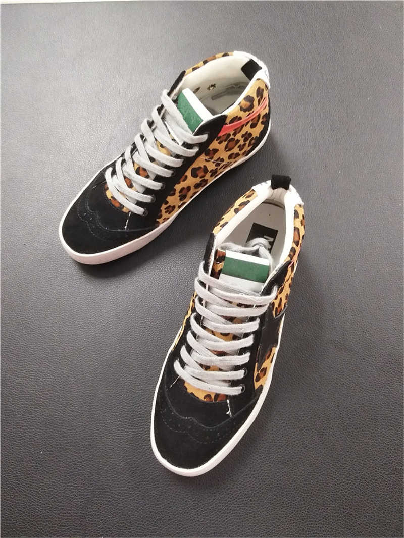 ... Women Casual Shoes Genuine Leather Do Old Dirty Shoes Mixed Color Women  Sequins Fashion Golden Star ... 027aee37eeac