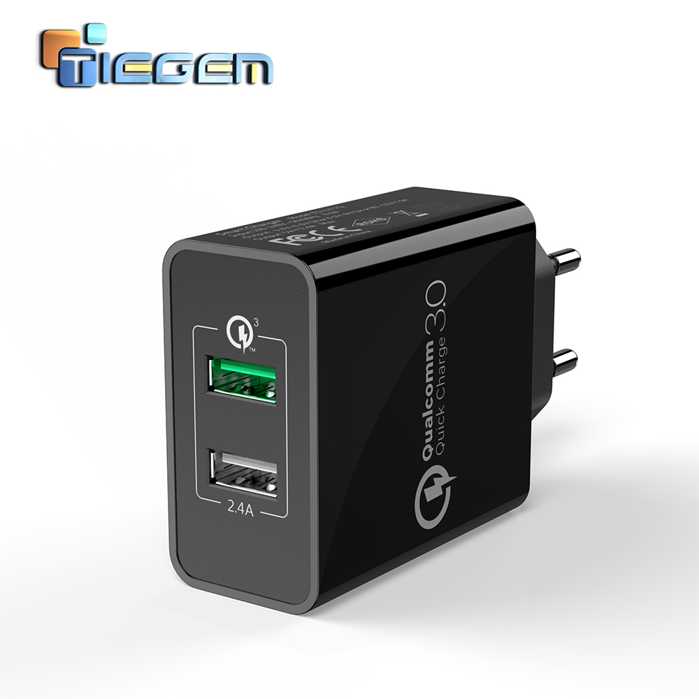 TIEGEM 30W Fast Quick Charge 3.0+2.4A Dual USB Universal Mobile Phone Charger Portable EU US Plug for Samsung Huawei Xiaomi LG