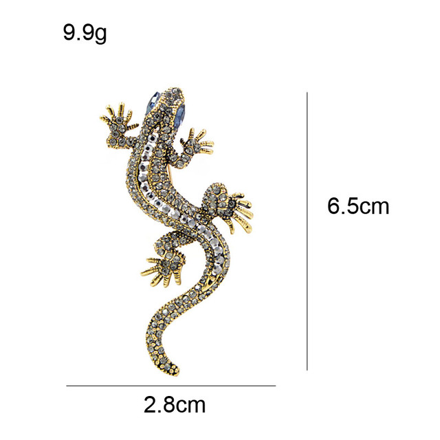CINDY XIANG 2 Colors Available Rhinestone Lizard Brooches Vintage Animal Brooch Pin Full Rhinestone Inlay Suit Accessories Gift 2