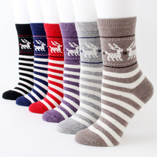 2019 Deer cat adult retro thick wool socks Fashion women striped wild Spring autumn winter warm
