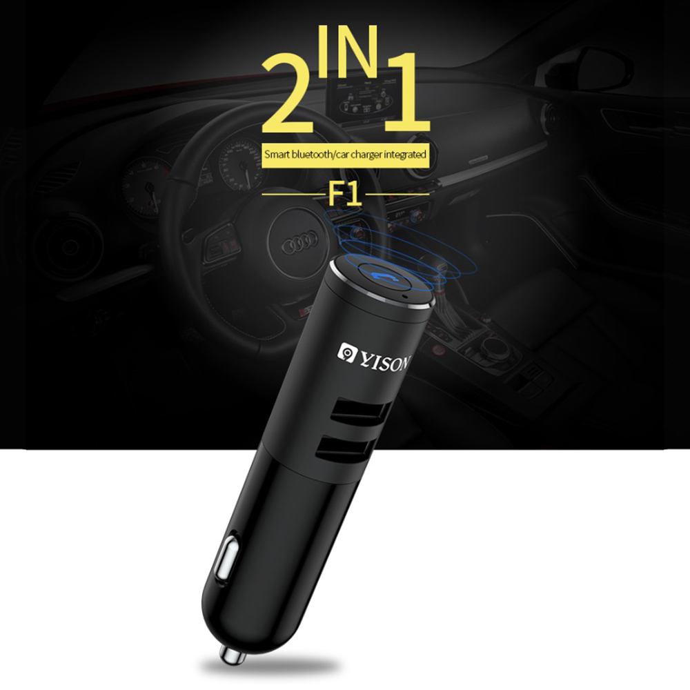 YISON F1 High-quality new car charger Bluetooth headset, new sound experience, MP3 music player headset Bluetooth car charger