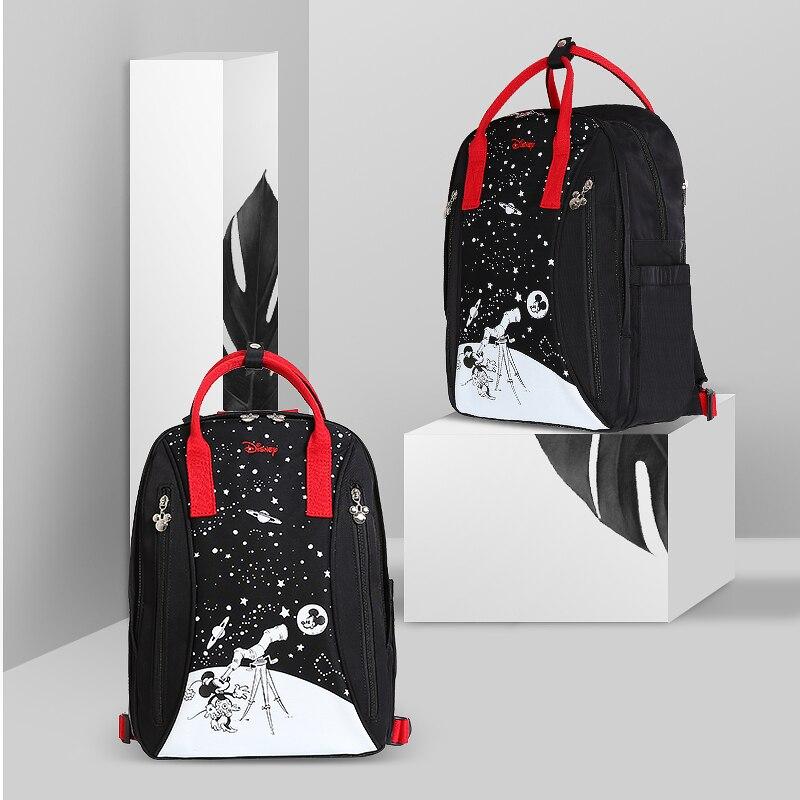 Disney  Cute Waterproof Diaper Bags USB Bottle Feeding Travel Backpack Baby Bags For Mom Storage Bag Mummy Bags