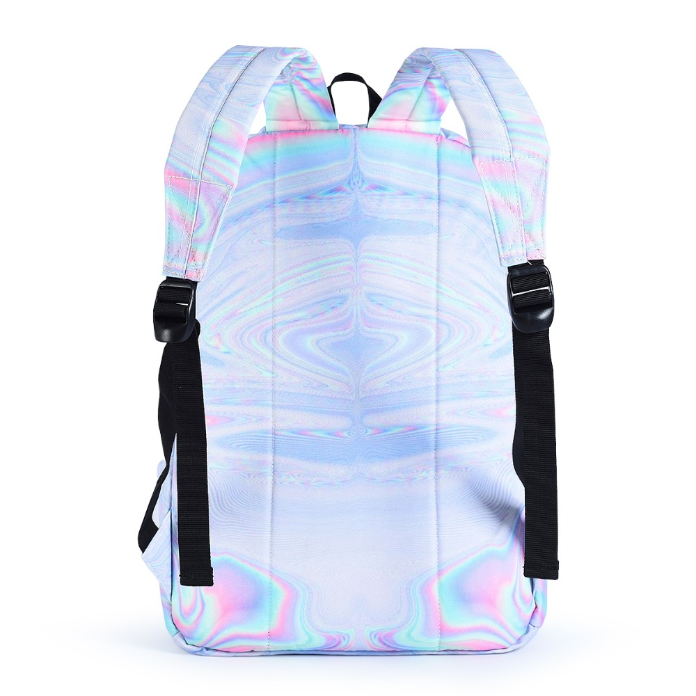 Us 19 46 43 Off Street Fashion Holographic Canvas Backpack Women Casual Rucksack Travel Bagpack Silver White Bookbag School Bag Lady In Backpacks