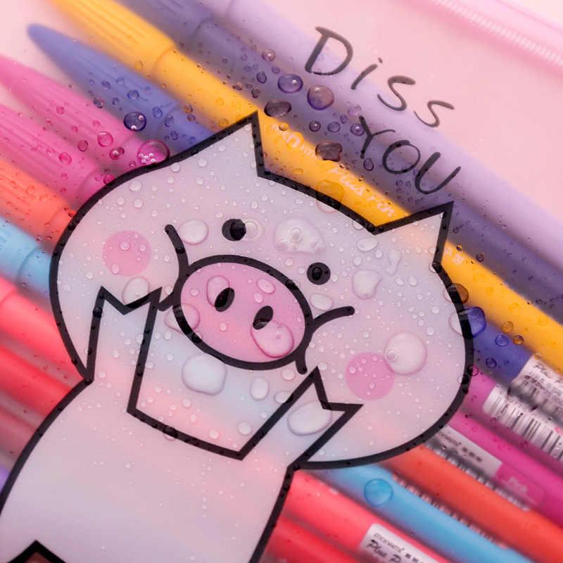 Saco de Documentos Pasta de Arquivo Transparente bonito Encantador da Menina Porco Anel Criativo zíper Receber Sacos de Papelaria Escritório B028