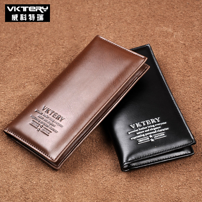VKTERY Brand Fashion Men Long Wallet Clutch Bag Coin Purse Gift Wallet For Male Big Capacity Card Cash Receipt Card ID Holders