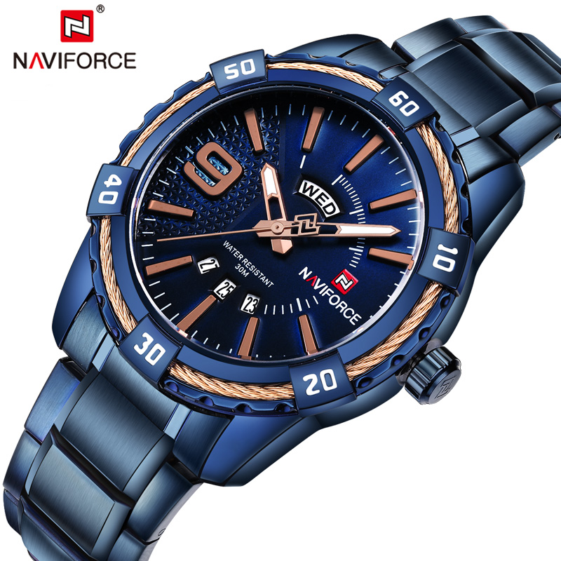 NAVIFORCE New Arrival Top Luxury Brand Men's Watches Classic Full Steel Quartz Wrist Watch Casual Week Display Business Watches
