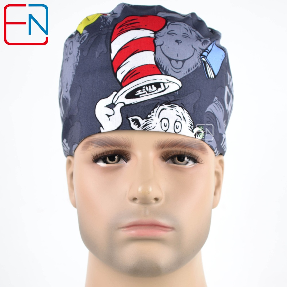 Hennar Surgical Scrub Caps Hospital Medical Surgical Cap 100% Cotton Printed Operation Adjust Three Sizes Ferrly Tie Back Unisex