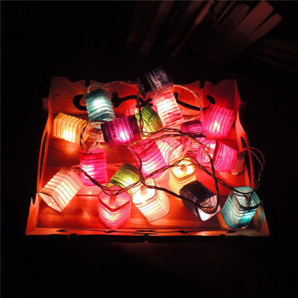 Thailand Handmade Paper Fabric Chinese Lantern String Lights Garland  Christmas Fairy Lights Luminaria Luces Navidad Guirlande
