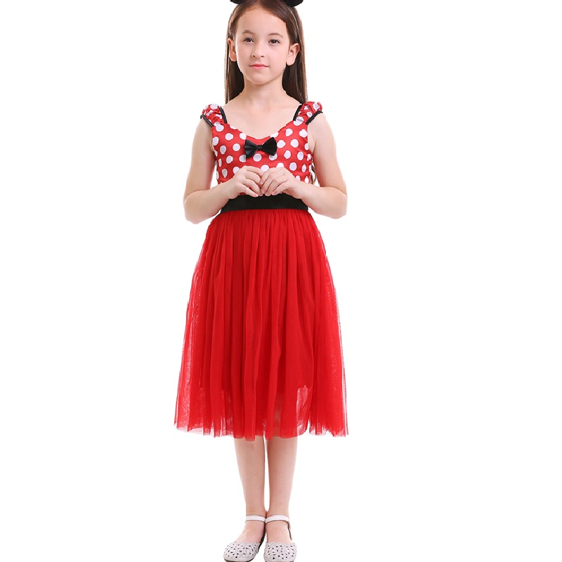Cute Minnie Dress for Girls Baby Kids Mickey Mouse Cosplay Fancy Dress Up Polka Dot Tulle Girl Dress Birthday Minnie Mouse Dress in Dresses from Mother Kids