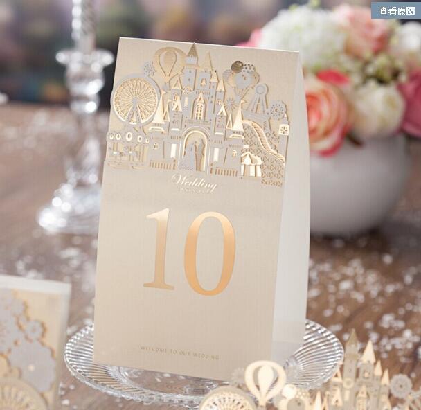 Wishmade TC5093 Золотой Свадьбы Таблица Номер Карты, бумаги Настольные Карточки, 10 шт./лот, без Числа