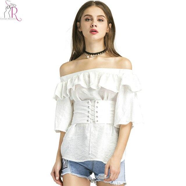c1bca5defeccd White Off Shoulder Ruffle Elastic Corset Belt Blouse Summer Half Sleeve  Women Brief Casual High Street Fashion Top Wear