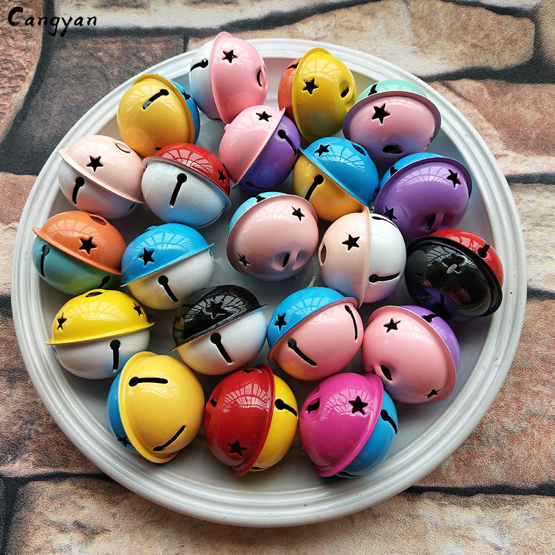 3pcs Cute Bright Two-color Big Bell Creative Metal 4CM Paint Accessories Diy Christmas Accessories Dogs Wear Gifts Children Like