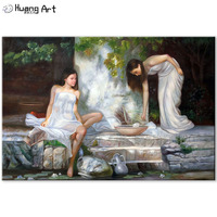 Handmade Oil Painting on Canvas by Skilled Artist Impression Beautiful Women Wall Painting for Room Decor Realistic Figure Art