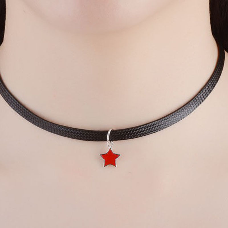 KOFSAC New Charm Silver 925 Pendant Necklace Star Epoxy Black Wax Rope Torques Chokers For Women Clavicular Chain Jewelry Gifts