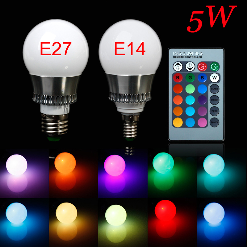 5pcs/lot 5W E14 E27 High Power Led Lamp RGB Led Bulb Home Lighting Holiday Dimmable Lamp with Remote Control 12 Color Changable smart home appliances lighting cellphone controlled wifi led lamp 10w rgb app handy bulb dimmable multicolored color changing