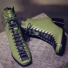 New fashion square toe lace-up genuine leather solid nude women ankle boots thick heel brand women shoes causal motorcycles boot