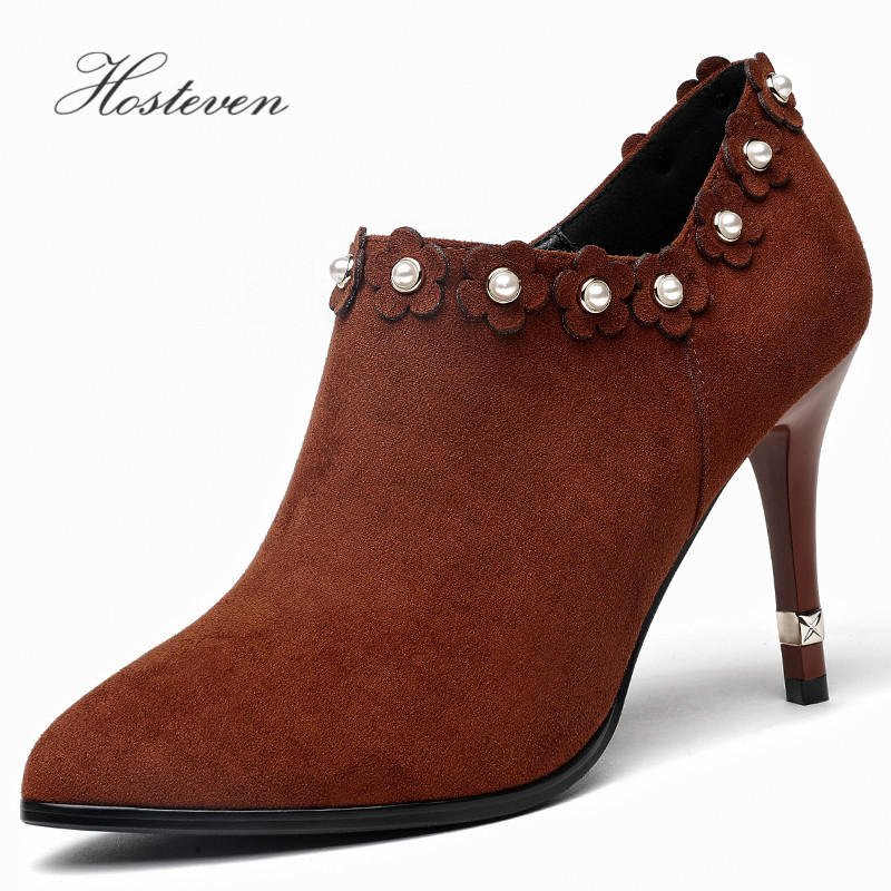Hosteven Women Pumps Boots Spring Autumn Office Ladies Classics Sexy High Heels 10cm Shoes Red Black Wedding Party Shoes
