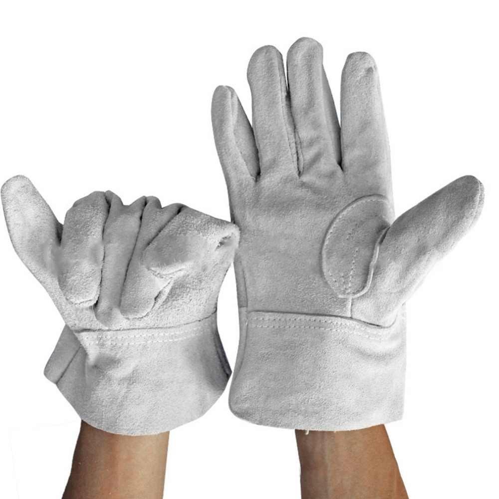 A Prova di Fuoco Durevole in Pelle di Mucca Guanti Saldatore Confortevole Anti-Calore di Sicurezza Sul Lavoro Guanti per La Saldatura Dei Metalli Utensili a Mano