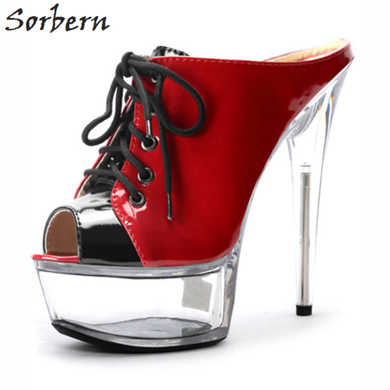 840bfddfa76 Sorbern Women Slippers 2018 Clear Heels Lace Up Peep Toe Patent Leather  Fashion Ladies Party Slippers Custom Made 15cm Heels
