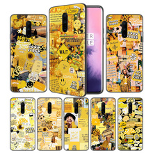 yellow aesthetic Soft Black Silicone Case Cover for OnePlus 6 6T 7 Pro 5G Ultra-thin TPU Phone Back Protective