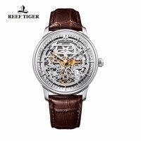 Риф Тигр/RT Дизайнер Скелет Мужские часы Сталь чехол Автоматические наручные часы с кожаным ремешком RGA1975