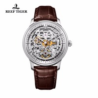 Reef Tiger/RT Designer Skeleton Mens Watch Steel Case Automatic Wrist Watch Leather Band RGA1975