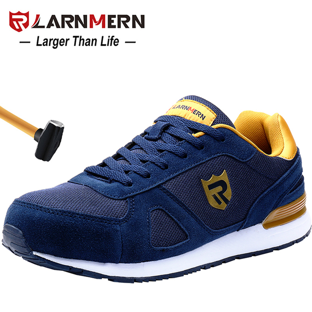 LARNMERN nam Thép Không Gỉ Mũi Giày Làm Giày Nhẹ Thoáng Khí Chống đập phá chống trơn trượt Phản Quang Casual Giày Sneaker