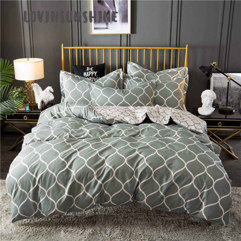 LOVINSUNSHINE Comforter Set King Size Bed Duvet Cover Queen Green Geometric Patterns Bedding Set Luxury AB#142