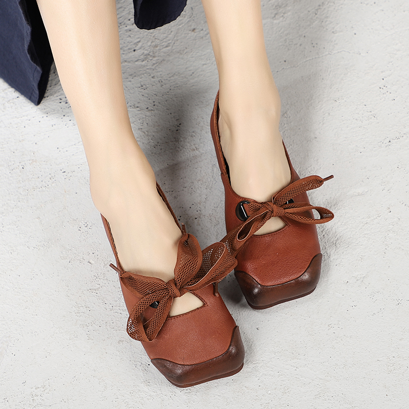 New Bow knot Design Shoes For Women Handmade Natural Leather Lady Flat Shoes Square Toe Female