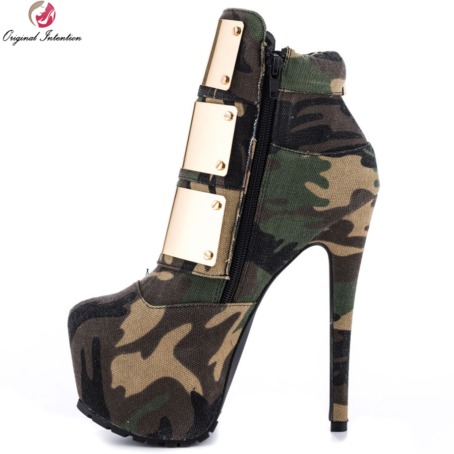 Original Intention New Stylish Camouflage Women Boots Canvas Boots Pointed Toe Thin Heels Shoes Woman Plus US Size 4-15